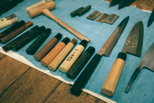 Blades and knife handles, Wada Shop, Sakai, Osaka, Japan