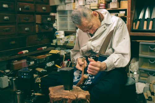 Artisan Assembling a Handle and a Blade, Wada Shop, Sakai, Osaka, Japan