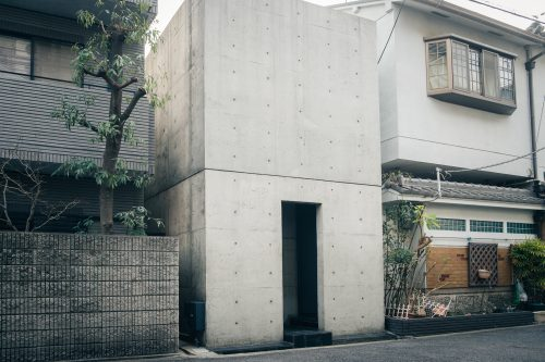 Sumiyoshi no Nagaya, the first home designed by Tadao Ando, Japanese architect from Osaka, Kinki, Japan