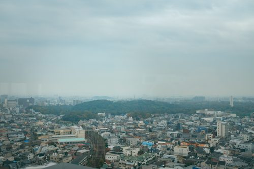 View of kofun from Sakai City Hall, Sakai, Osaka, Kinki, Japan