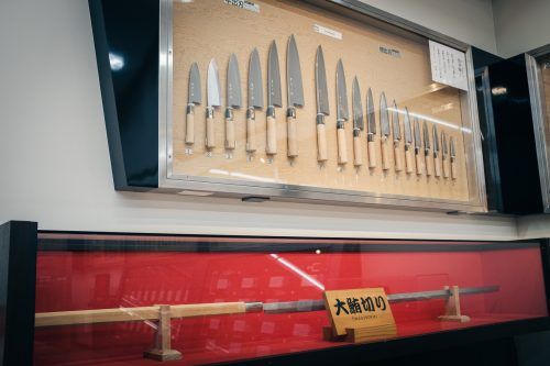 Various Japanese knives and tuna saber exhibited at Sakai City Traditional Crafts Museum, Osaka, Japan