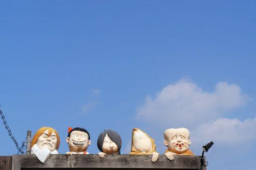 Kitaro manga characters along the Mizuki Shigeru Road in Sakaiminato, San'in region, Tottori, Japan