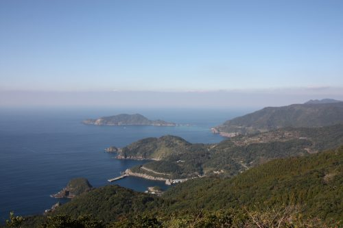 Le panorama depuis le Mt Kamegaoka, Minamisatsuma, Kagoshima, Japon