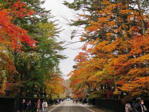 Paysage aux couleurs d'automne à Kakunodate, Senboku, Akita, Japon