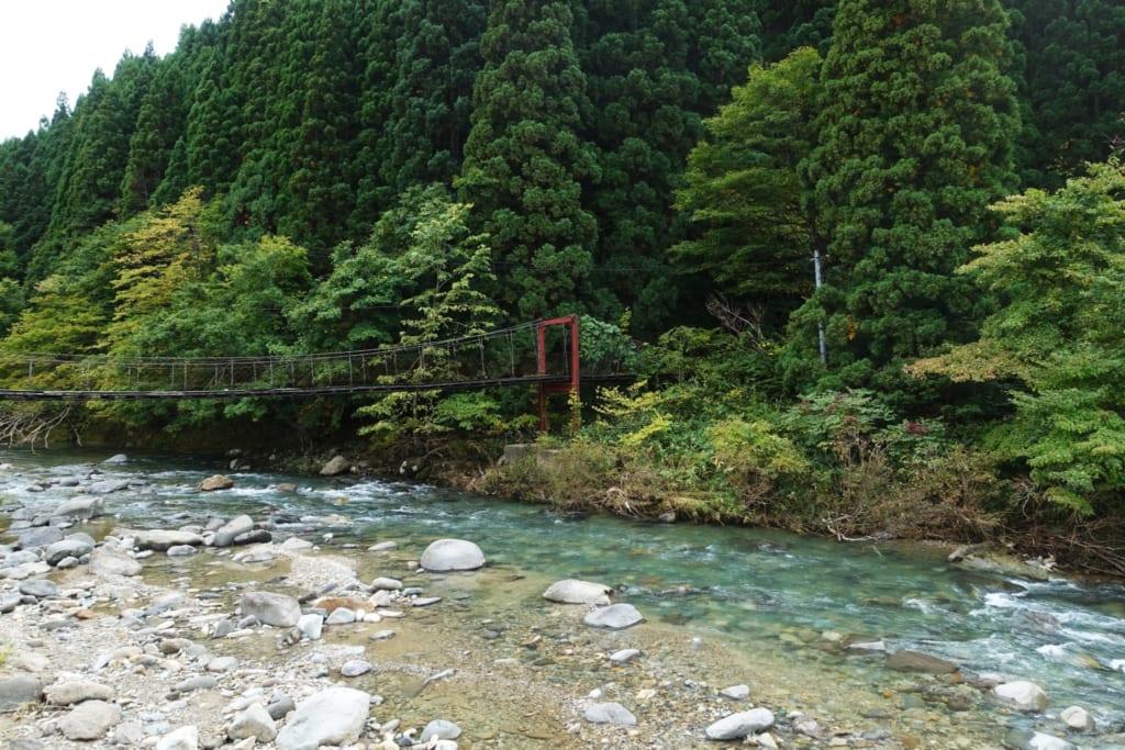 Kawara no Yukko faisant face à la forêt bordant la rivière
