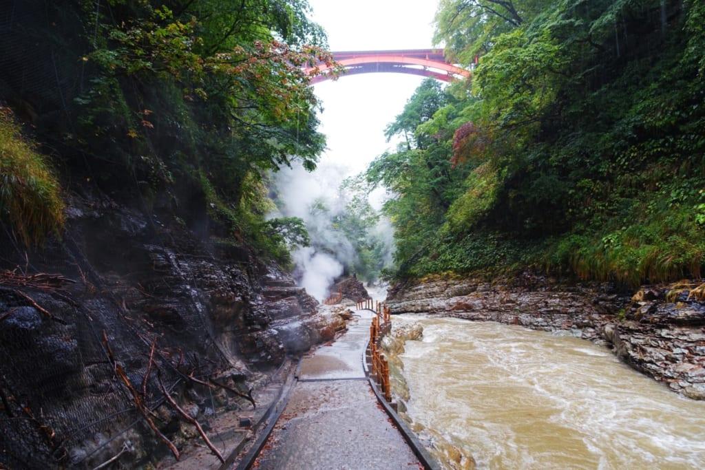 Un pont qui traverse le fleuve au dessus des gorges d' Oyasukyo
