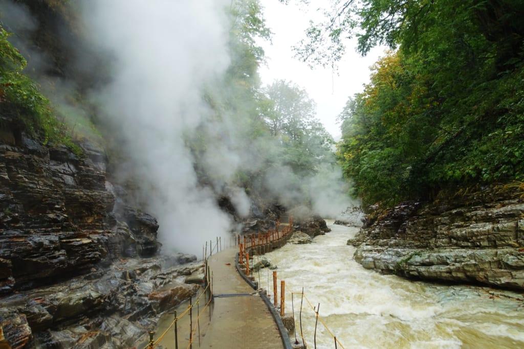 Le chemin de randonnée entouré par de denses nuages de vapeur