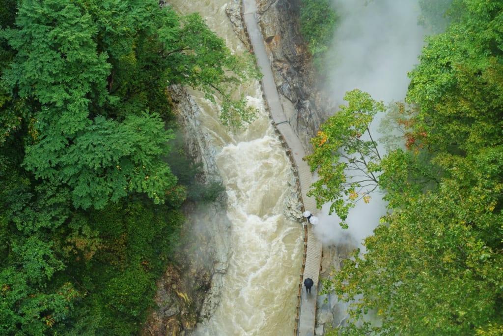 Vue aérienne du fleuve depuis le pont