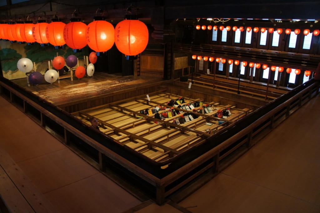 Vue d'ensemble du théâtre Yachiyoza et de ses places assises en tatami