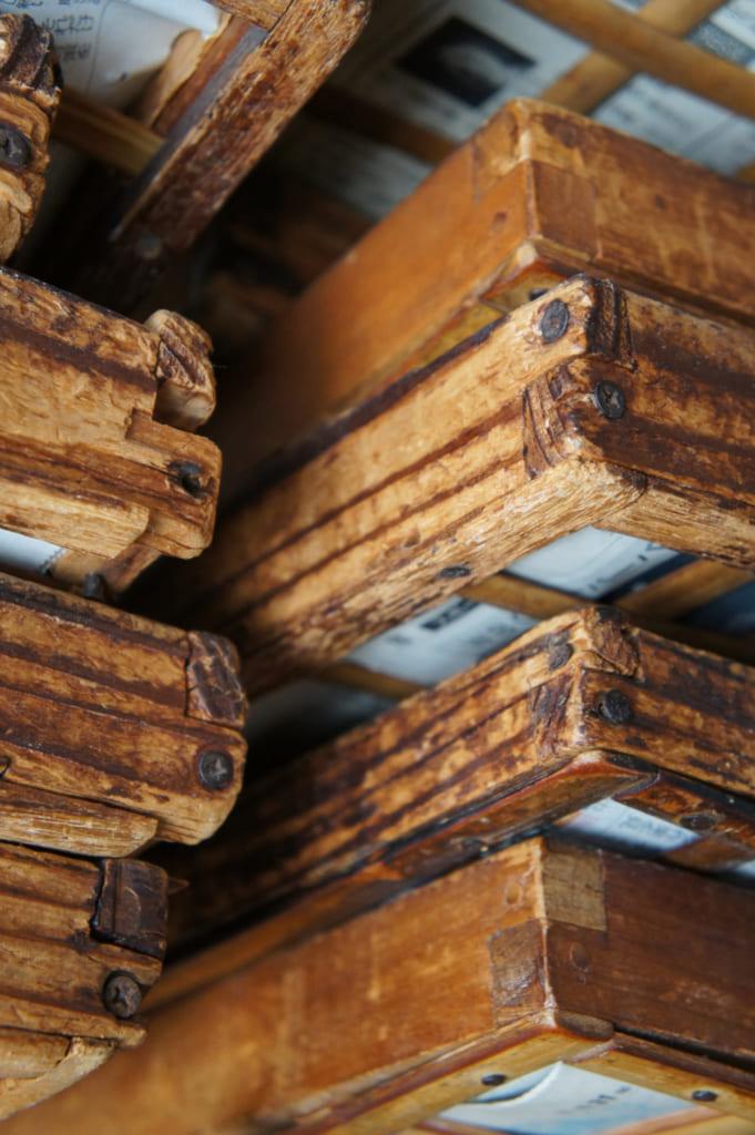 Ustensiles (plateaux) de bois, servant à la fabrication de somen artisanales