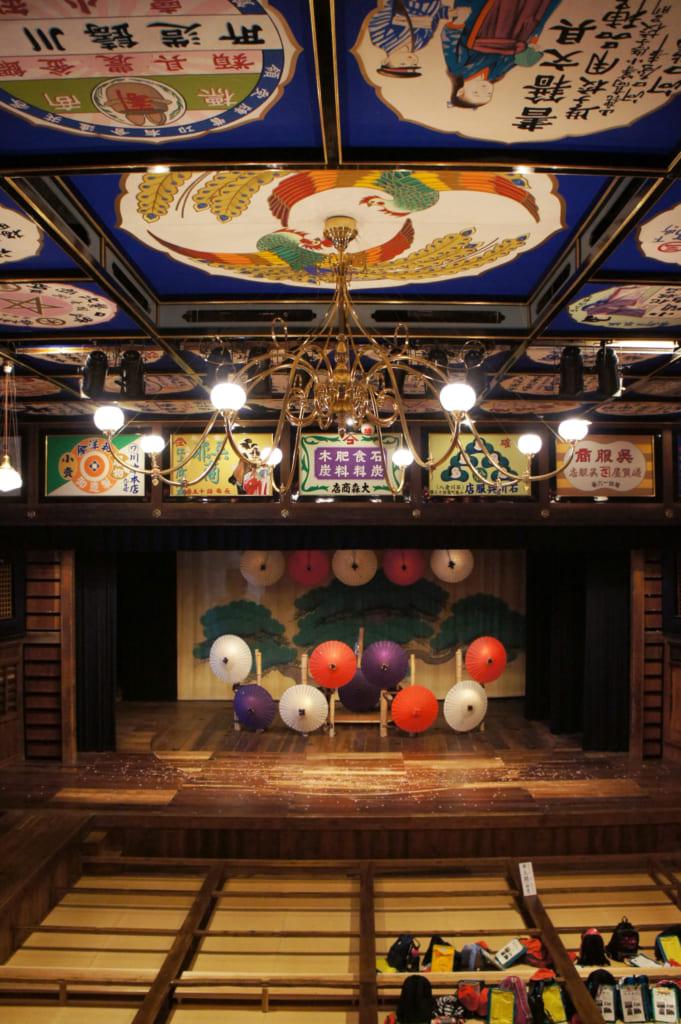 Intérieur du théâtre Yachiyo-za de Yamaga, avec aperçu du plafond peint et du lustre