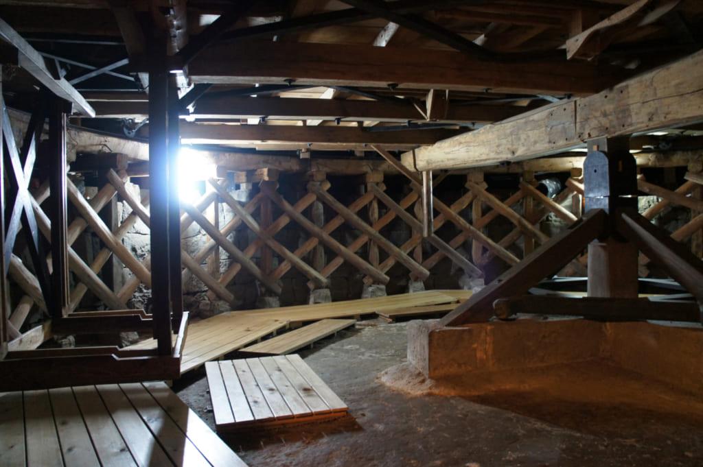 Machineries anciennes en bois, sous la scène du théâtre Yachiyo-za de Yamaga