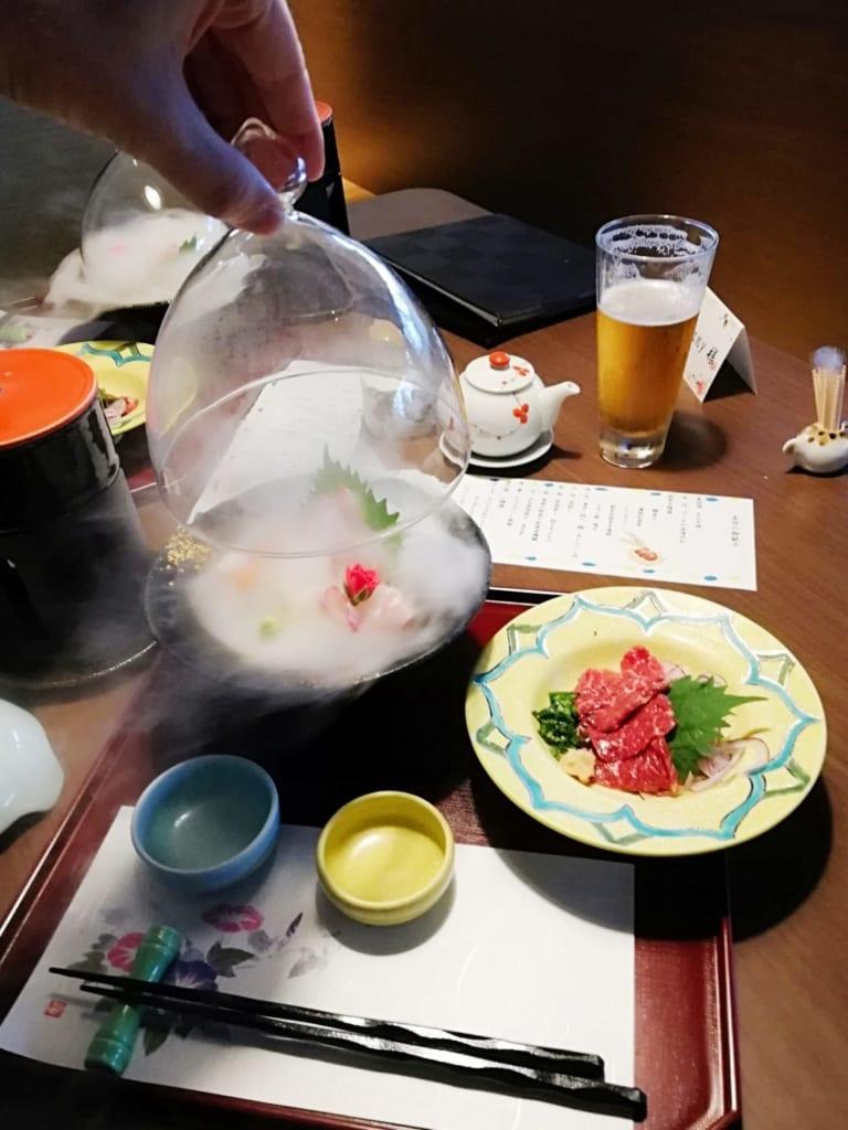 Sashimis du diner kaiseki au ryokan Kafutei, à Kumamoto