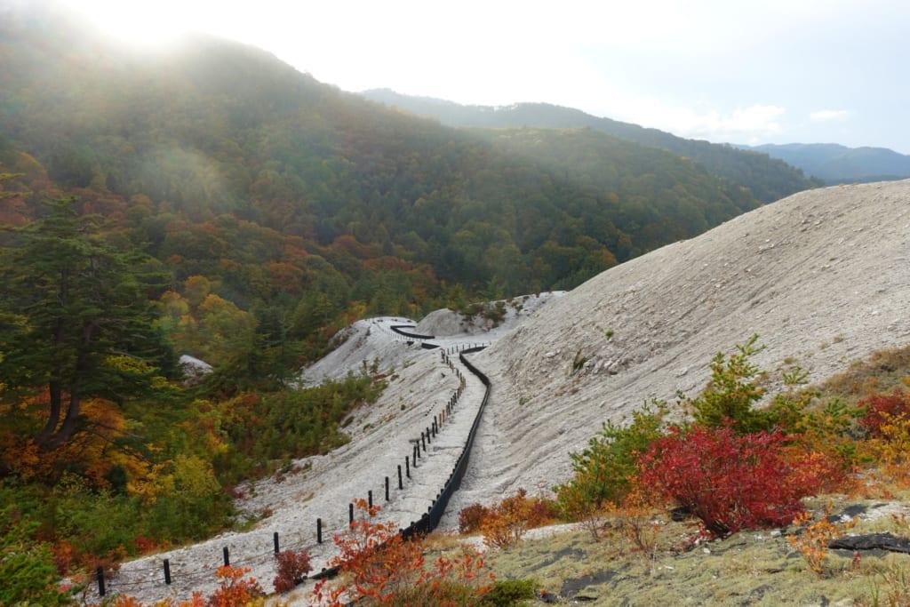 Paysage surprenant du kawarage jigoku entièrement blanc au milieu de la nature luxuriante de Tohoku