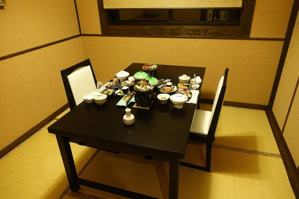 Salle à manger privative du ryokan où un repas traditionnel kaiseki est disposé sur la table