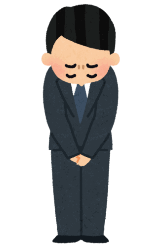 Illustrazione di un salary man giapponese che chiede scusa inchinandosi