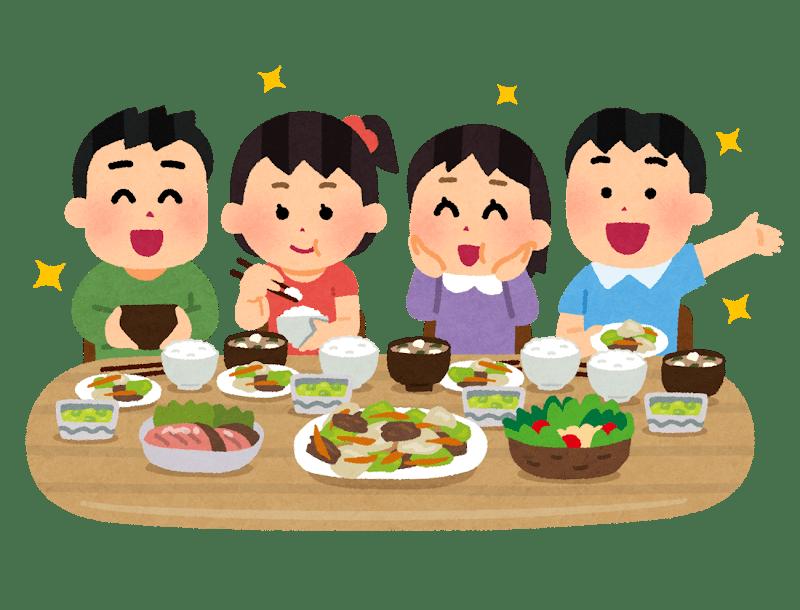 Illustrazione di bambini che si godono un piatto giapponese