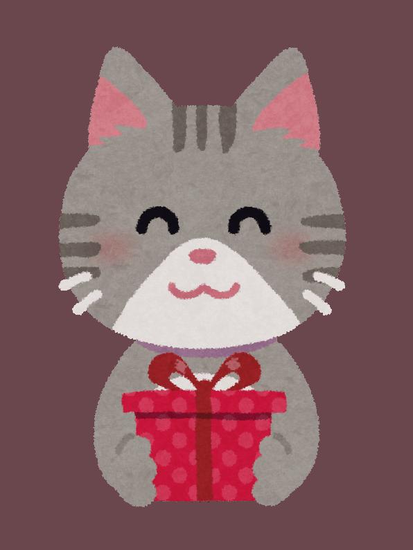 Illustrazione di un gattino con un pacchetto regalo