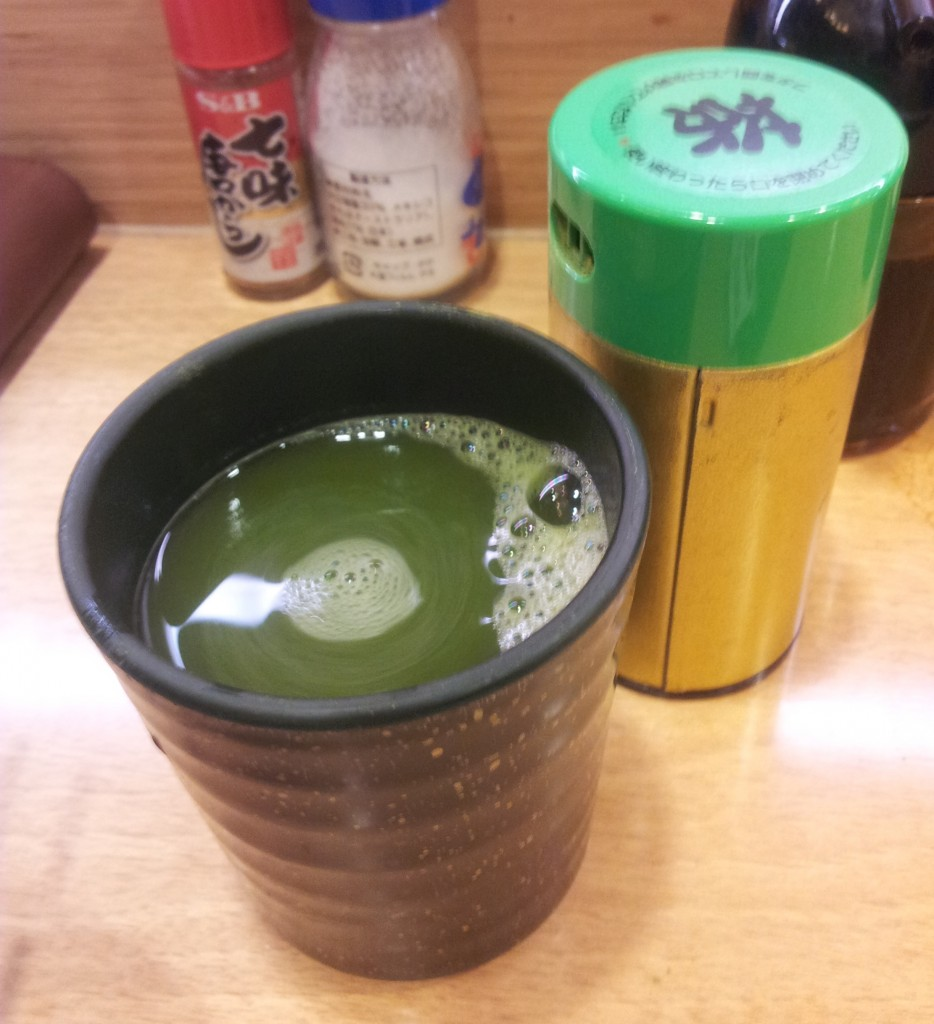 tea is provided for free at Japanese Sushi train restaurants