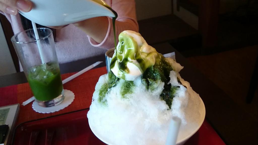 Matcha shaved ice in Uji, Kyoto