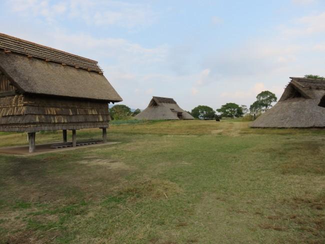 Yoshinogari Historical Park huts in a rural area