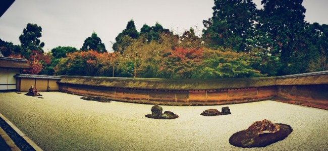 Ryoanji Temple in Kyoto boasts a beautiful rock garden