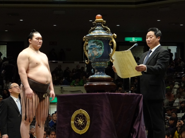 A Sumo tournament in Japan. Sumo is a famous sport in Japanese tradition.