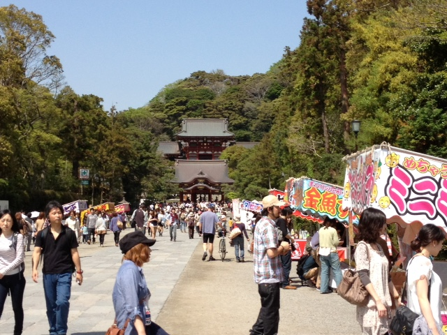stalls along a street near a temple or shrine in Kamakura