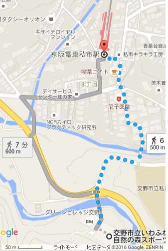 map of Hoshida-Enchi Park in Osaka offers outdoor Walking