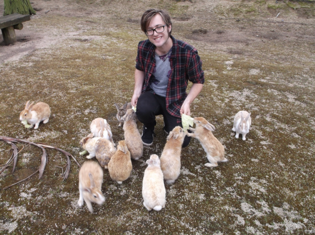 rabbits surround a person, Rabbit Island Okunoshima