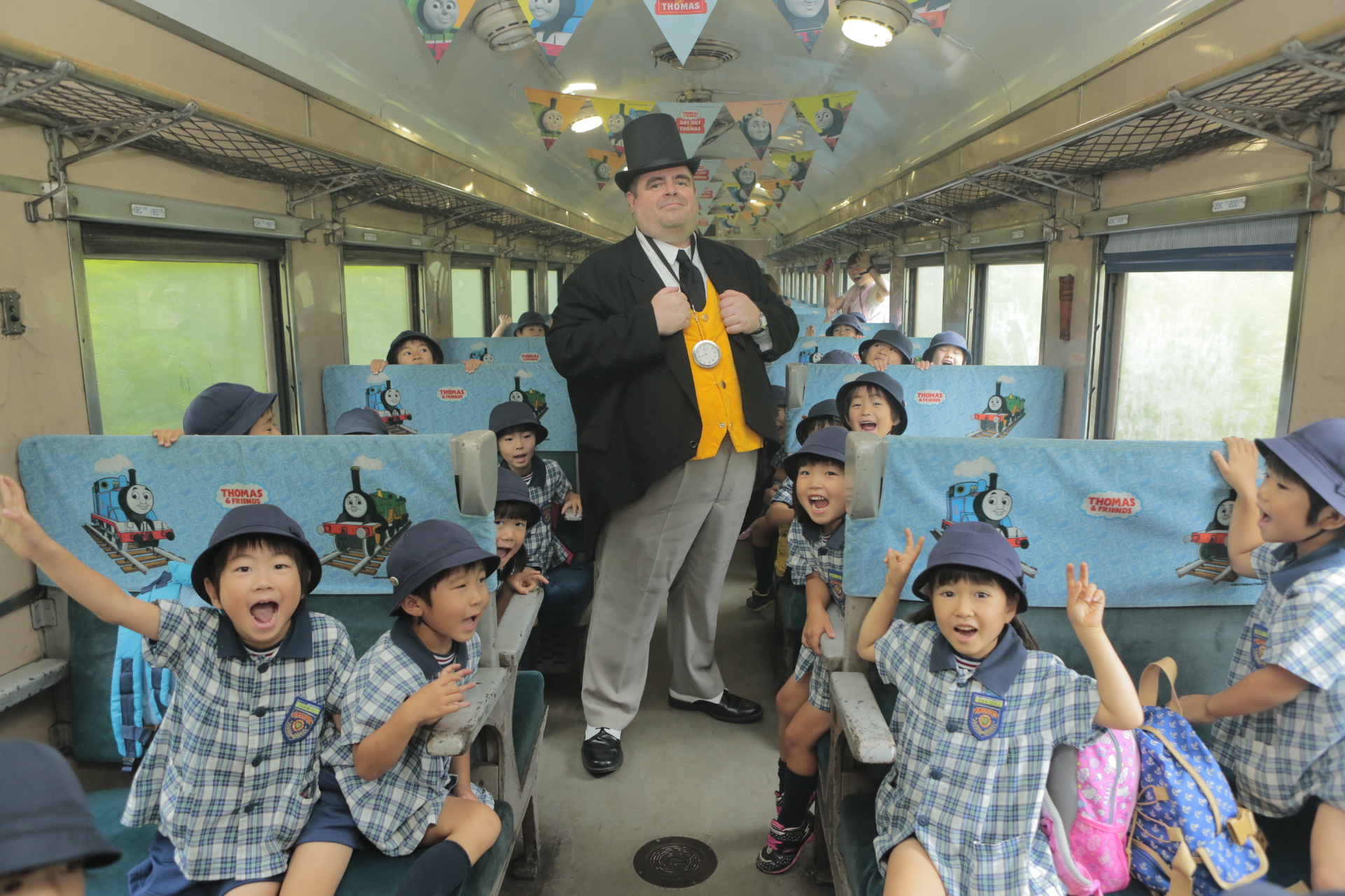 children are excited to ride with Thomas the train in Shizuoka Oigawa Railway in Japan