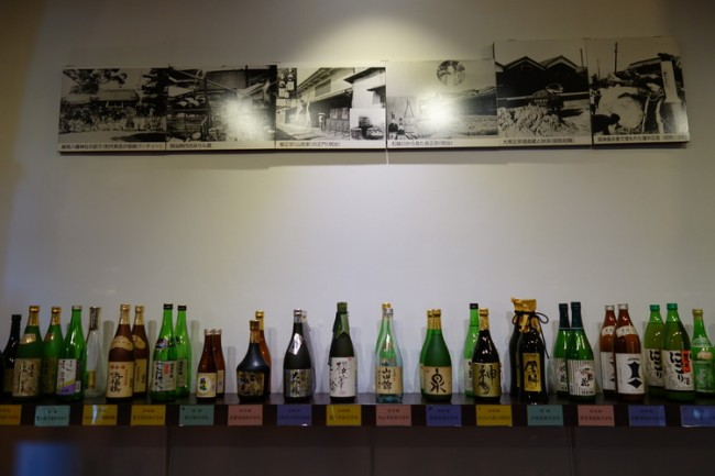Sake rowing shelves at Kobe pickles museum
