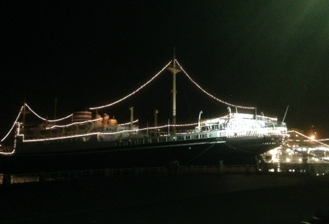Hikawa Maru, forever berthed by Yamashita Park overlooking Yokohama Port
