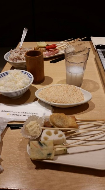 uncooked kushikatsu with rice and batter, Osaka food