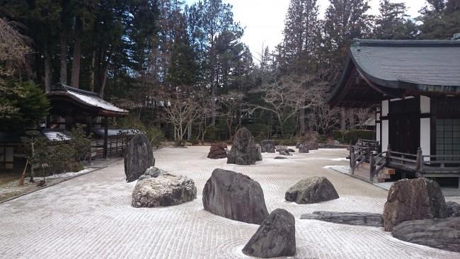 Tranquil Zen rock garden at one of the shrines in Mount Koya