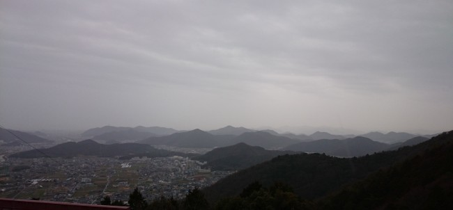 A stretching view for hiking from Himeji Mount Shosha, interceding the mountain's temple grounds