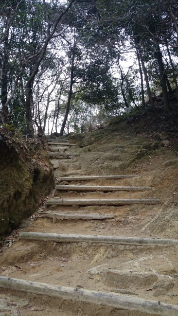 Path hints at a coming temple, Himeji Shoshasan hiking trail
