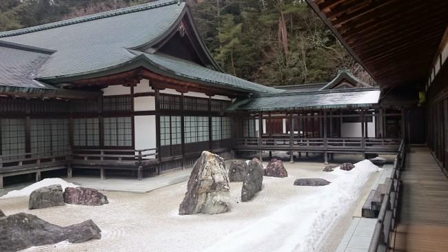 Tranquil stone garden in Kongobuji Temple, Mount Koya