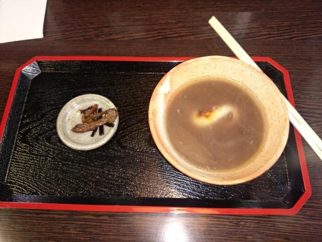 Buddhist cuisine in Yoshuji resturaunt, zenzai made from anko (red beans)