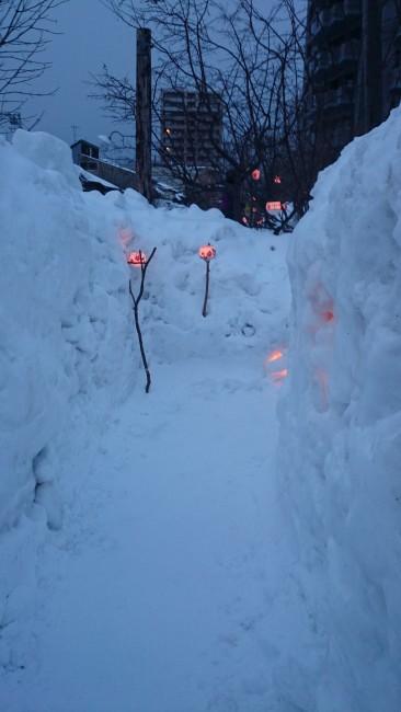 Snow covered road in Otaru