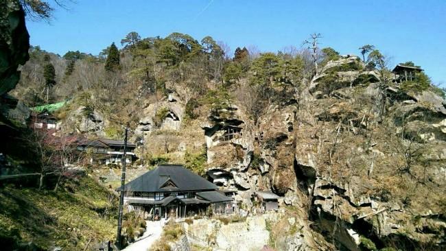 Yamadera Temple mountain.