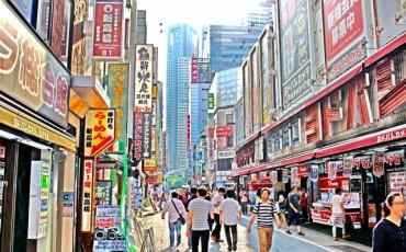 Shopping street in Shinjuku, Tokyo