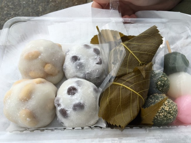 delicious Futaba shop selling daifuku at Demachiyanagi, along the Kyoto Philospher's Path