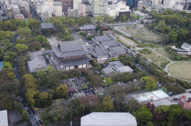Aerial view of Zojoji temple in Tokyo