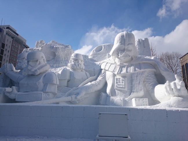Star Wars snow sculpture at Odori Park