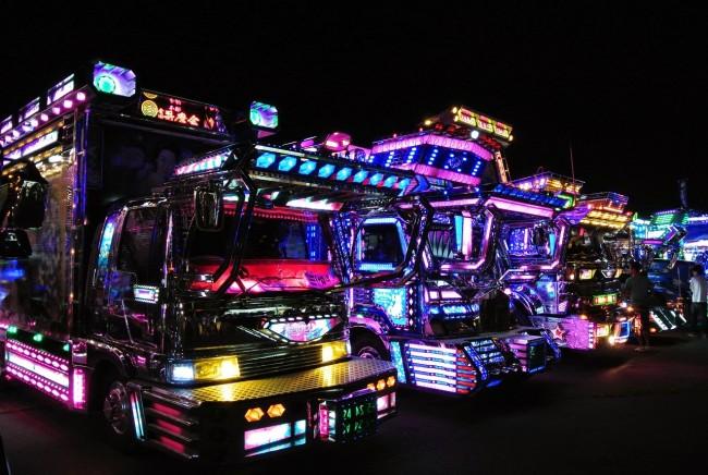 Japanese Dekotora trucks with array of lights