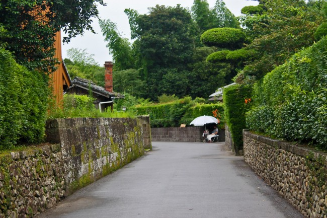 Road with bushes on the side at the heritage samurai village of Chiran.