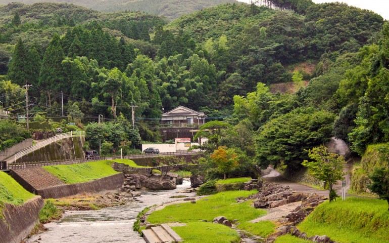 View from the bridge at the samurai heritage village of Chiran.