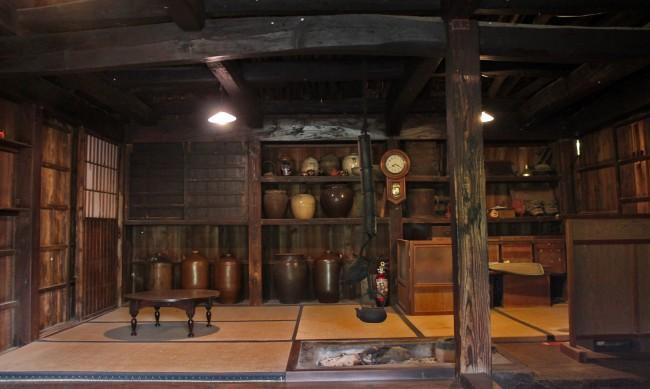 Traditional tea house interior in the samurai heritage village of Chiran.