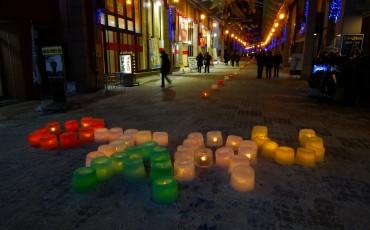 Otaru spelled out in candles at Denuki in Hokkaido.
